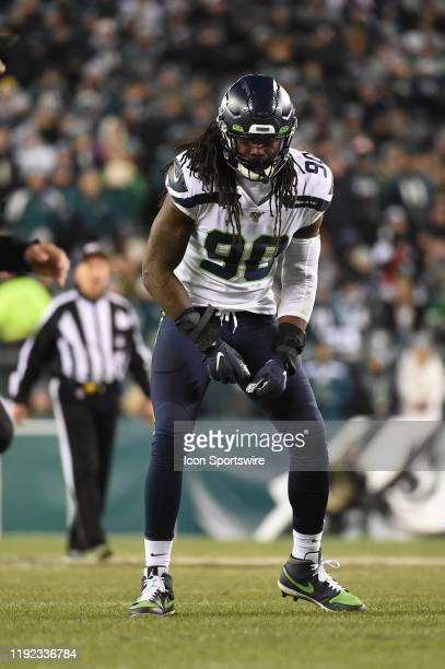 Seattle Seahawks defensive end Jadeveon Clowney celebrates during the Playoff game between the Seattle Seahawks and the Philadelphia Eagles on...