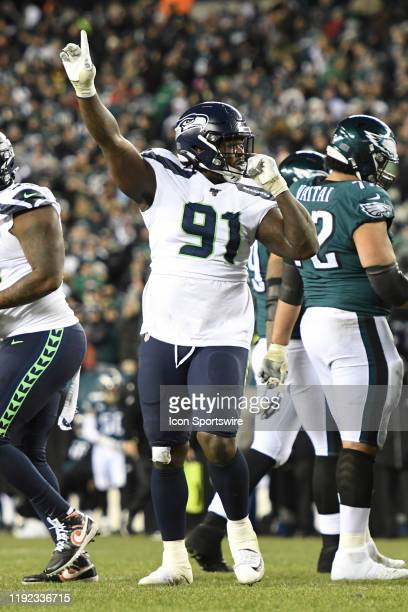 Seattle Seahawks defensive tackle Jarran Reed celebrates during the Playoff game between the Seattle Seahawks and the Philadelphia Eagles on January...