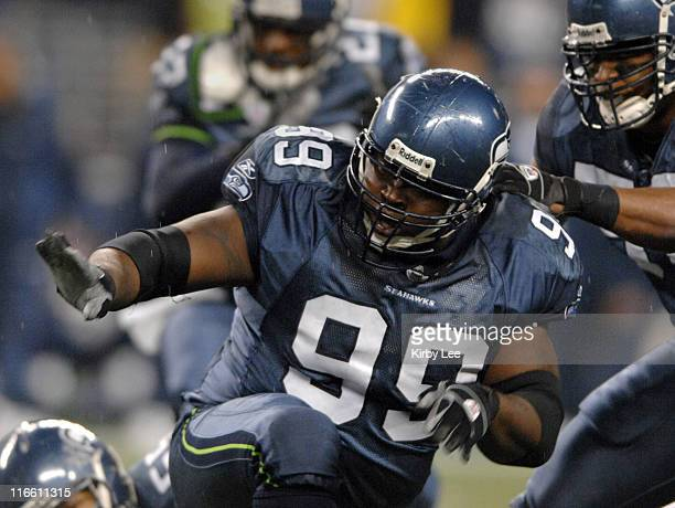 Seattle Seahawks defensive tackle Rocky Bernard celebrates a tackle during 16-0 victory over the Oakland Raiders in ESPN Monday Night Football game...