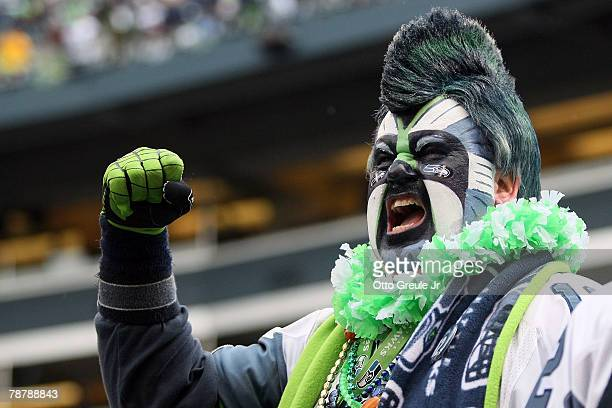 Seattle Seahawks fan cheers on his team against the Washington Redskins during the NFC Wild Card game at Qwest Field on January 5 2008 in Seattle...