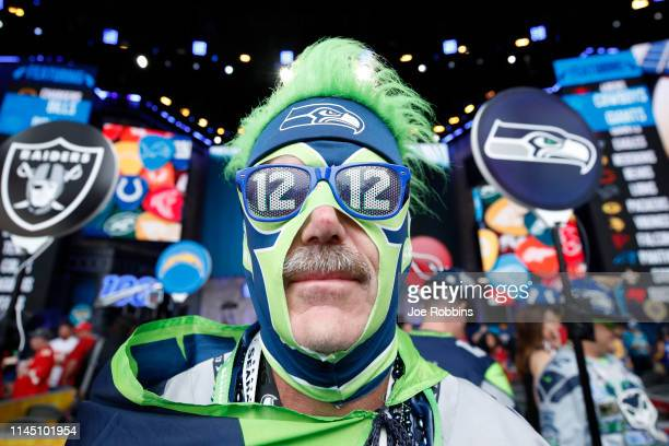 Seattle Seahawks fan is seen prior to the start of the first round of the NFL Draft on April 25 2019 in Nashville Tennessee
