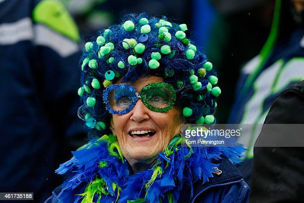 Seattle Seahawks fan looks on during the 2015 NFC Championship game against the Green Bay Packers at CenturyLink Field on January 18 2015 in Seattle...