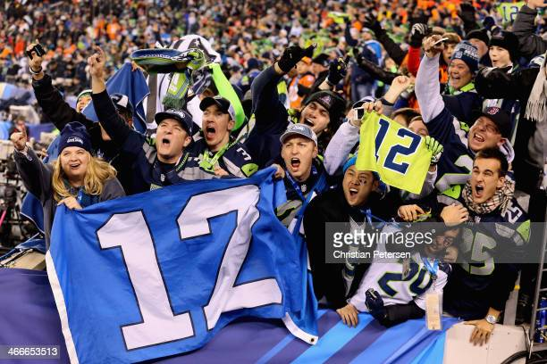 Seattle Seahawks fans celebrate after Seattle won Super Bowl XLVIII at MetLife Stadium on February 2, 2014 in East Rutherford, New Jersey.The...