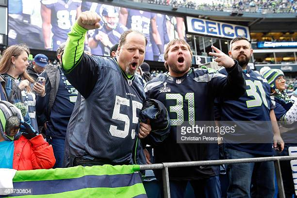 Seattle Seahawks fans get ready for the 2015 NFC Championship game against the Green Bay Packers at CenturyLink Field on January 18 2015 in Seattle...