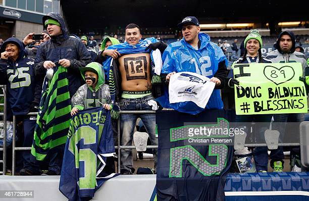 Seattle Seahawks fans get ready for the start of the 2015 NFC Championship game against the Green Bay Packers at CenturyLink Field on January 18 2015...