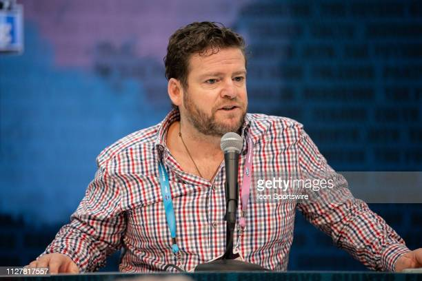Seattle Seahawks general manager John Schneider answers questions from the media during the NFL Scouting Combine on February 27 2019 at the Indiana...