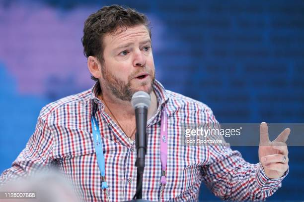 Seattle Seahawks general manager John Schneider speaks to the media during the NFL Scouting Combine on February 27 2019 at the Indiana Convention...