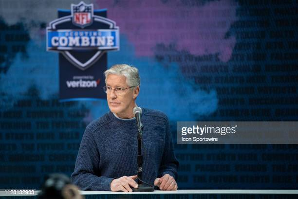Seattle Seahawks head coach Pete Carroll answers questions from the media during the NFL Scouting Combine on February 28 2019 at the Indiana...