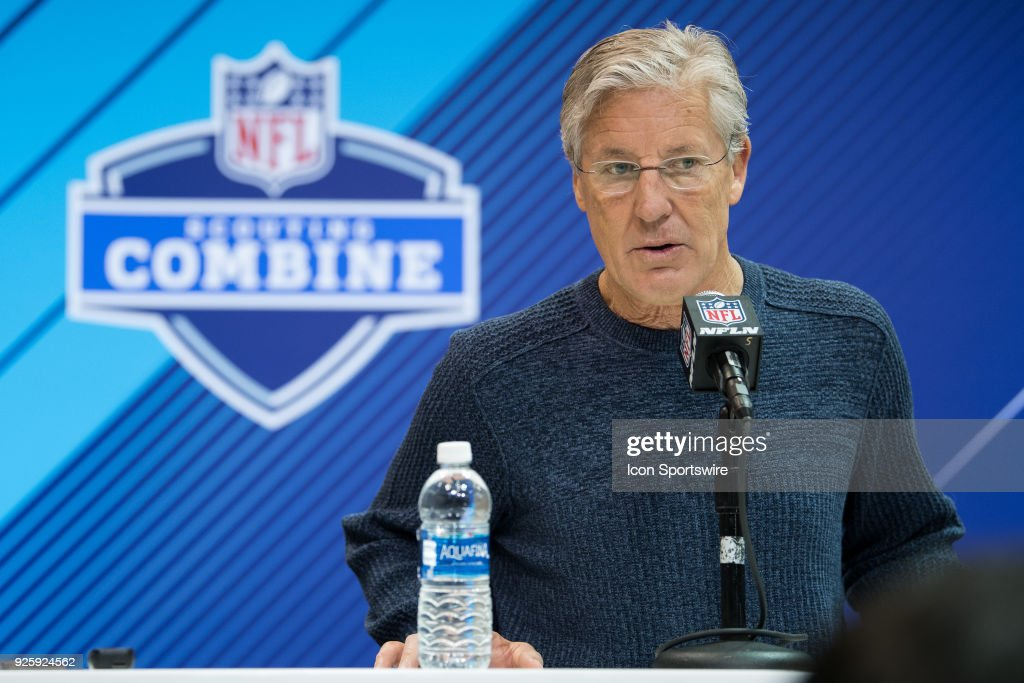 Seattle Seahawks head coach Pete Carroll answers questions from the media during the NFL Scouting Combine on March 1, 2018 at the Indiana Convention Center in Indianapolis, IN.