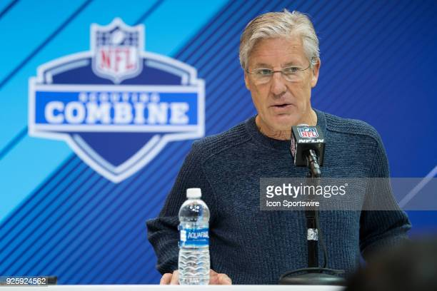 Seattle Seahawks head coach Pete Carroll answers questions from the media during the NFL Scouting Combine on March 1 2018 at the Indiana Convention...