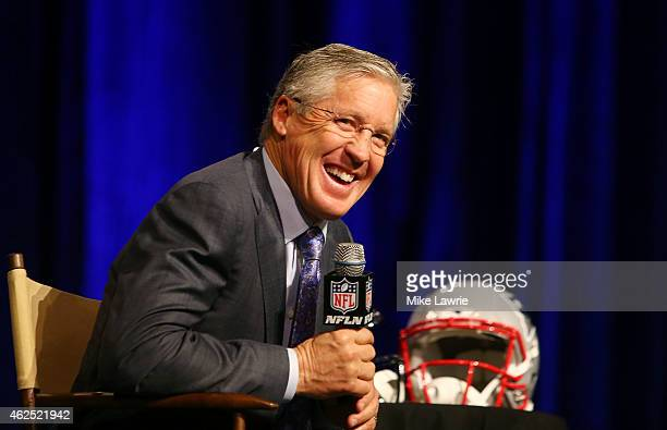 Seattle Seahawks Head Coach Pete Carroll attends a joint press conference with New England Patriots Head Coach Bill Belichick prior to the upcoming...