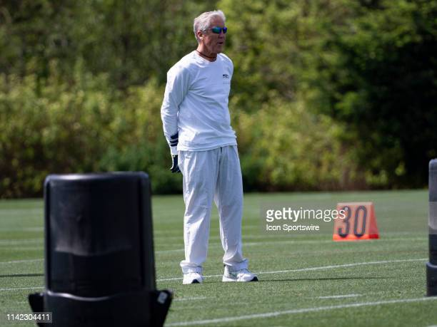 Seattle Seahawks head coach Pete Carroll communicating with his staff during the Seahawks Rookie MiniCamp on May 04 at Virginia Mason Athletic Center...