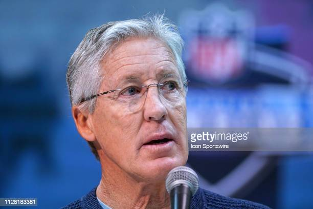 Seattle Seahawks head coach Pete Carroll speaks to media during the NFL Scouting Combine on February 28 2019 at the Indiana Convention Center in...
