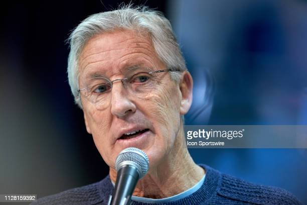 Seattle Seahawks head coach Pete Carroll speaks to the media during the NFL Scouting Combine on February 28 2019 at the Indiana Convention Center in...