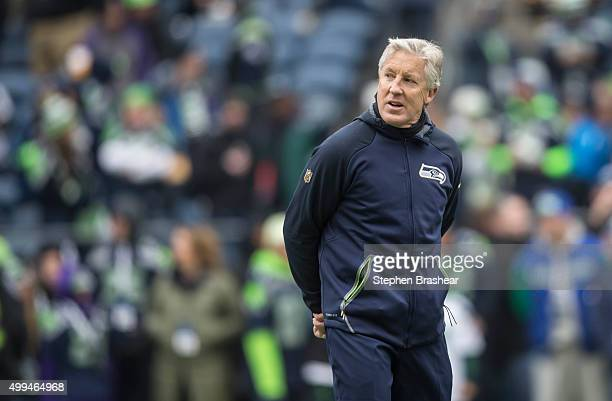 Seattle Seahawks head coach Pete Carroll walks stands on the field before a football game against the Pittsburgh Steelers at CenturyLink Field on...