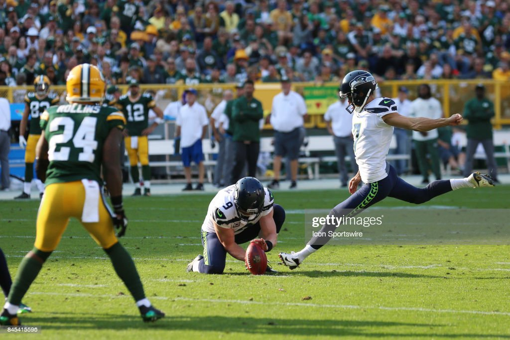 Seattle Seahawks kicker Blair Walsh (7) kicks a field goal during a game between the Green Bay Packers and the Seattle Seahawks at Lambeau Field on September 10, 2017 in Green Bay, WI.
