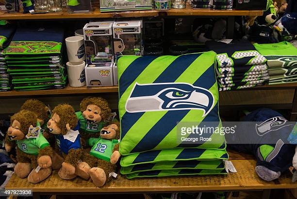 Seattle Seahawks logo toys and clothing can be found at Alaska Airlines SeattleTacoma International Airport Terminal C on November 3 in Seattle...