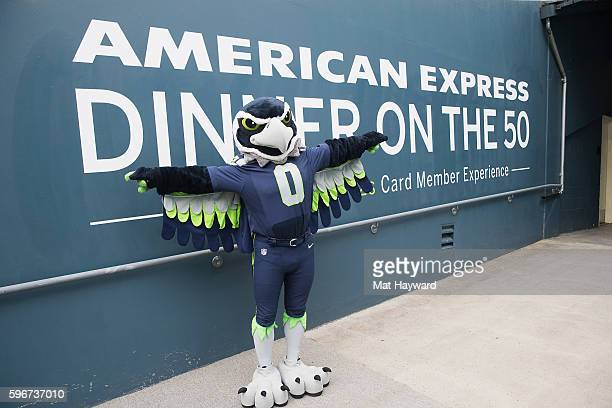 Seattle Seahawks mascot Blitz attends the American Express hosted Dinner On The 50 an exclusive Card Member event held on CenturyLink Field on August...