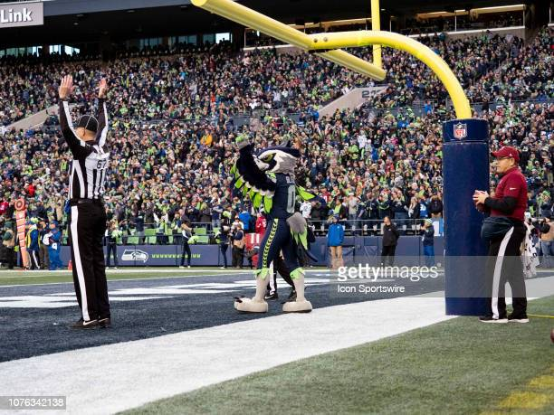 Seattle Seahawks mascot Blitz celebrates a touchdown during the NFL football game between the Arizona Cardinals and the Seattle Seahawks on December...