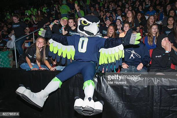 Seattle Seahawks mascot Blitz interacts with fans during We Day at KeyArena on April 20 2016 in Seattle Washington