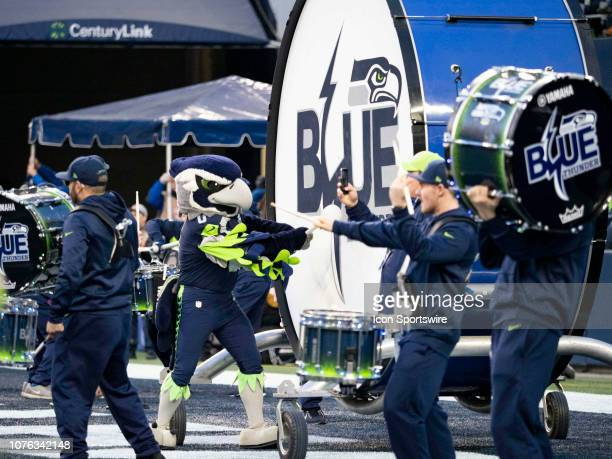 Seattle Seahawks mascot Blitz plays with Seattle Seahawks band Blue Thunder during the NFL football game between the Arizona Cardinals and the...