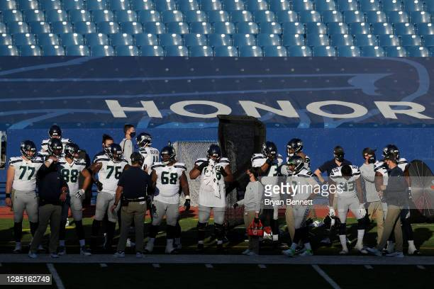 Seattle Seahawks offense prepares during the second half against the Buffalo Bills at Bills Stadium on November 08, 2020 in Orchard Park, New York.