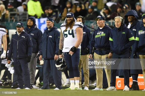 Seattle Seahawks offensive guard Jordan Roos stands with the coaches during the Playoff game between the Seattle Seahawks and the Philadelphia Eagles...