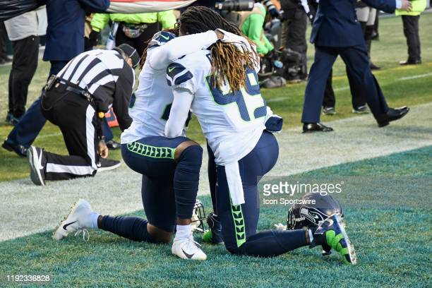 Seattle Seahawks outside linebacker Shaquem Griffin and Seattle Seahawks cornerback Shaquill Griffin hug during the Playoff game between the Seattle...