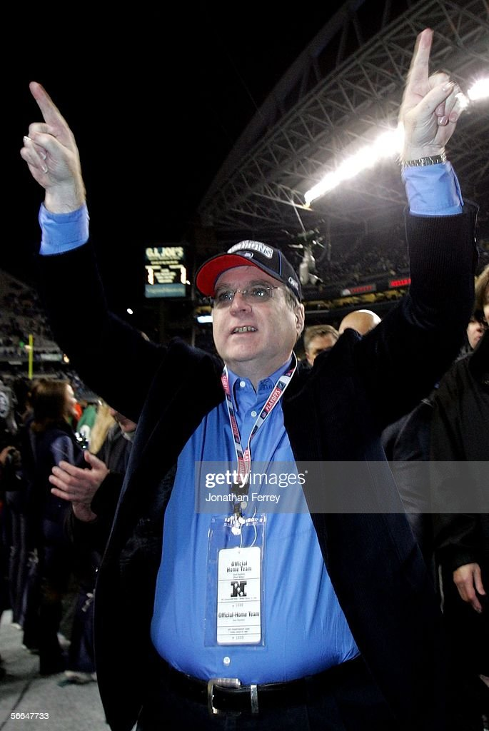 Seattle Seahawks owner Paul Allen celebrates on the field following his team's victory over the Carolina Panthers at Qwest Stadium on January 22, 2006 in Seattle, Washington. Seattle will play Pittsburgh in Super Bowl XL.