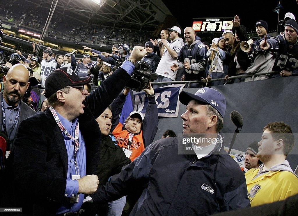Seattle Seahawks owner Paul Allen celebrates with fans after his team defeated the Carolina Panthers in the NFC Championship game January 22, 2006 at Qwest Stadium in Seattle, Washington. The Seahawks will play the Pittsburgh Steelers in Super Bowl XL.