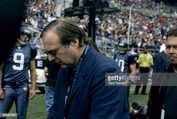 Seattle Seahawks owner Paul Allen on the field before a 2413 loss to the Arizona Cardinals on September 15 at Seahawks Stadium in Seattle Washington