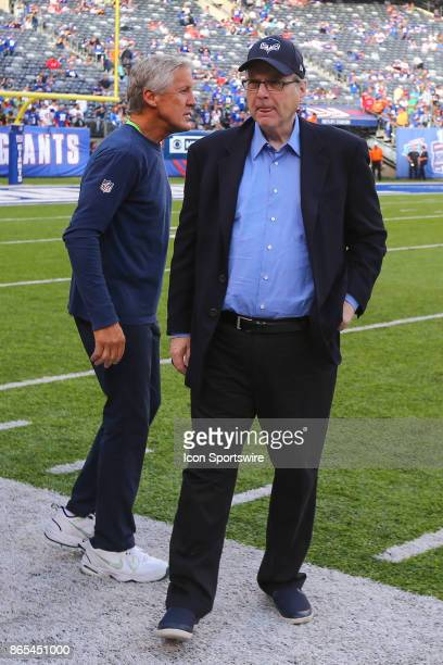 Seattle Seahawks Owner Paul Allen on the field prior to the National Football League game between the New York Giants and the Seattle Seahawks on...