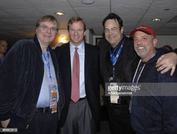Seattle Seahawks owner Paul Allen Roger Goodell Dan Ackroyd and Billy Joel before Super Bowl XLI between the Indianapolis Colts and Chicago Bears at...