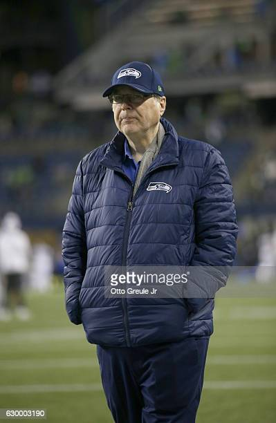 Seattle Seahawks owner Paul Allen seen before the game against the Los Angeles Rams at CenturyLink Field on December 15 2016 in Seattle Washington