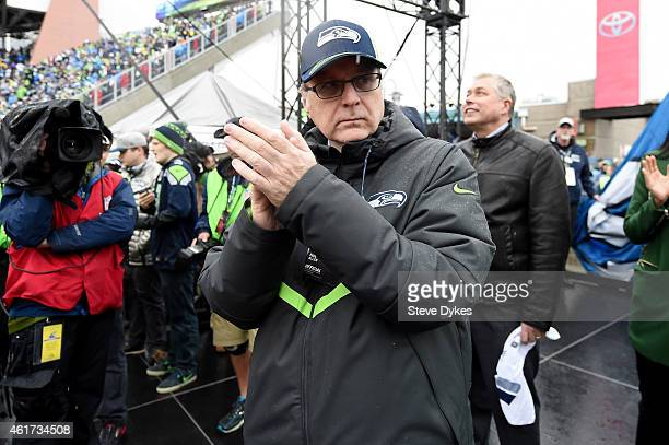 Seattle Seahawks owner Paul Allen takes part in the 12th Man celebration before the 2015 NFC Championship game between the Seattle Seahawks and the...