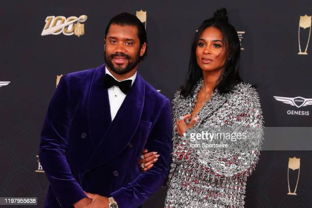 Seattle Seahawks quarterback Russell Wilson and his wife Ciara on the Red Carpet prior to the NFL Honors on February 1 2020 at the Adrienne Arsht...