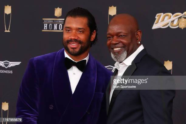 Seattle Seahawks quarterback Russell Wilson and NFL Hall of Fame running back Emmitt Smith pose on the Red Carpet poses prior to the NFL Honors on...