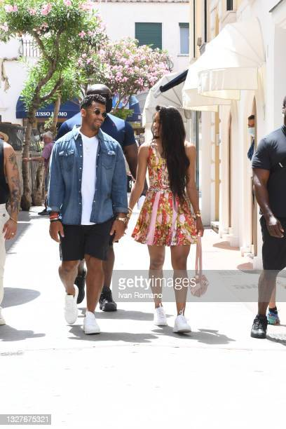Seattle Seahawks quarterback Russell Wilson and singer Ciara Princess Harris stroll in the streets of Capri on July 08, 2021 in Capri, Italy.
