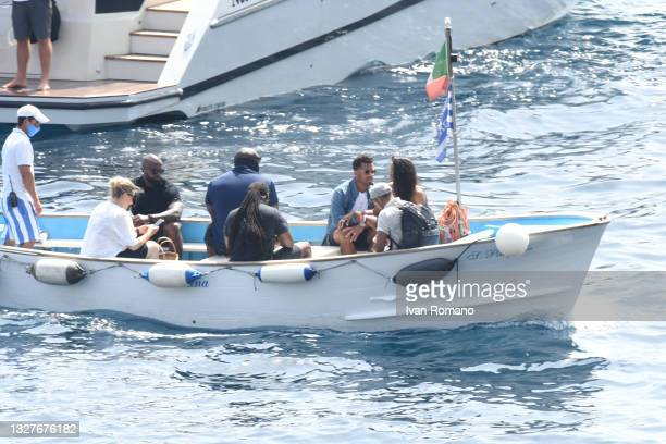 Seattle Seahawks quarterback Russell Wilson and singer Ciara Princess Harris on a boat on July 08, 2021 in Capri, Italy.