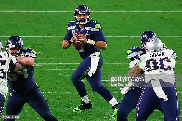 Seattle Seahawks quarterback Russell Wilson drops back to pass during the fourth quarter of Super Bowl XLIX The New England Patriots defeat the...