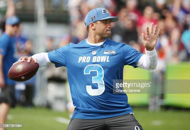 NFC Seattle Seahawks quarterback Russell Wilson throws during NFL Pro Bowl practice at ESPN Wide World of Sports on Wednesday January 23 2019