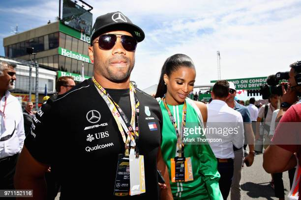 Seattle Seahawks Quarterback Russell Wilson walks on the grid before the Canadian Formula One Grand Prix at Circuit Gilles Villeneuve on June 10 2018...
