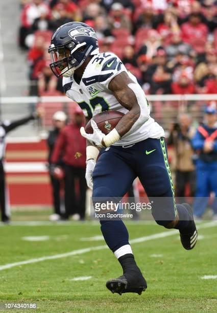 Seattle Seahawks Running Back Chris Carson during the NFL game between the Seattle Seahawks and the San Francisco 49ers on December 16 2018 at Levi's...