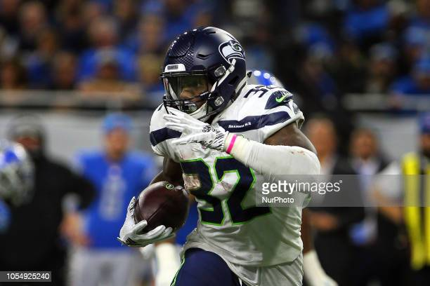 Seattle Seahawks running back Chris Carson runs the ball during the second half of an NFL football game against the Detroit Lions in Detroit Michigan...