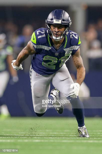 Seattle Seahawks running back JD McKissic attacks the line of scrimmage on a punt during the NFC wildcard playoff game between the Seattle Seahawks...