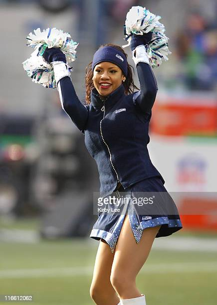 Seattle Seahawks Sea Gals cheerleader performs during 413 victory over the San Francisco 49ers at Qwest Field in Seattle Wash on Sunday December 11...