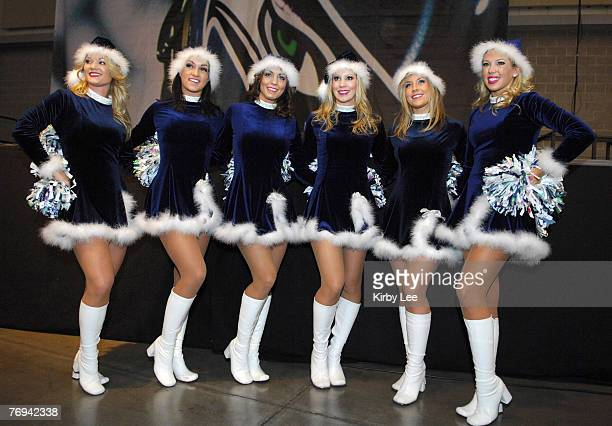Seattle Seahawks Sea Gals cheerleaders perform at Touchdown City during tailgate festivities at Qwest Fields Event Center before game against the San...