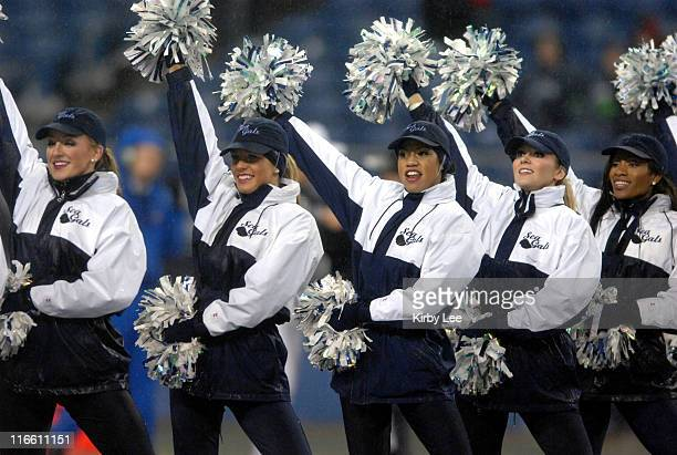 Seattle Seahawks Sea Gals cheerleaders perform during NFL Network Thursday Night Football game against the San Francisco 49ers at Qwest Field in...