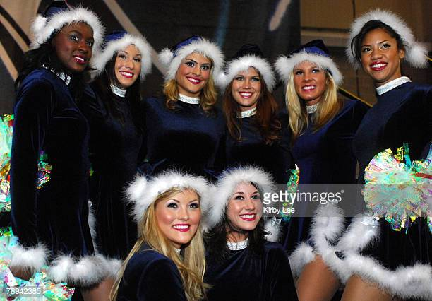 Seattle Seahawks Sea Gals cheerleaders pose at Touchdown City during tailgate festivities at the Qwest Field Events Center before NFL Network...