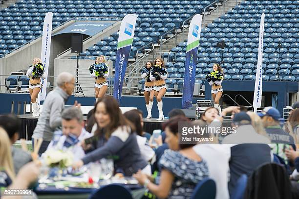 Seattle Seahawks Sea Gals perform during the American Express hosted Dinner On The 50 an exclusive Card Member event held on CenturyLink Field on...